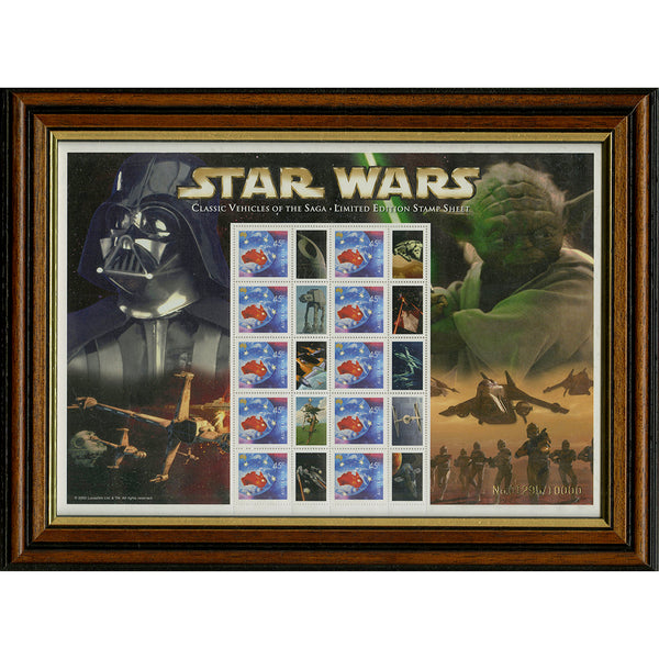 Star Wars ' Vehicles of the Saga' Framed & Mounted Collectors Stamps Sheetlet
