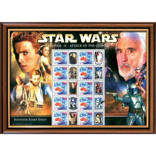 Star Wars 'Attack of the Clones Framed & Mounted Collectors Stamps Sheetlet