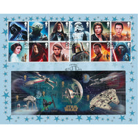 Star Wars Framed Full Set of Key Characters GB Stamps & Special Souvenir Cover