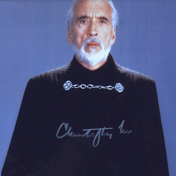 Sir Christopher Lee as Count Dooku Mounted Star Wars Photo Personally Signed