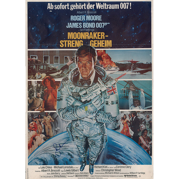 Moonraker Original German Film Poster (some wear) Personally Signed by Roger Moore