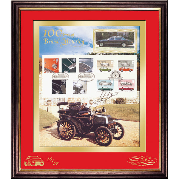100 Years of British Motoring Framed Stamps Print Pers. Signed by John Surtees Ltd Edition