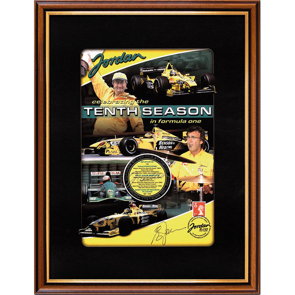 Jordan Framed 'Celebrating 10 Years in Formula One' Personally Signed by Eddie Jordan