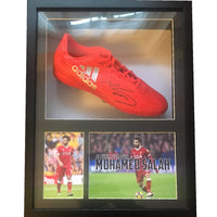 Mohammed Salah Personally Signed Football Boot in a Display Case