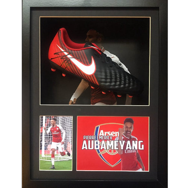 Aubameyang Personaly Signed Football Boot in a Display Case