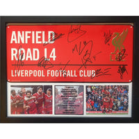 Liverpool FC Framed Anfield Road Sign Multi Signed