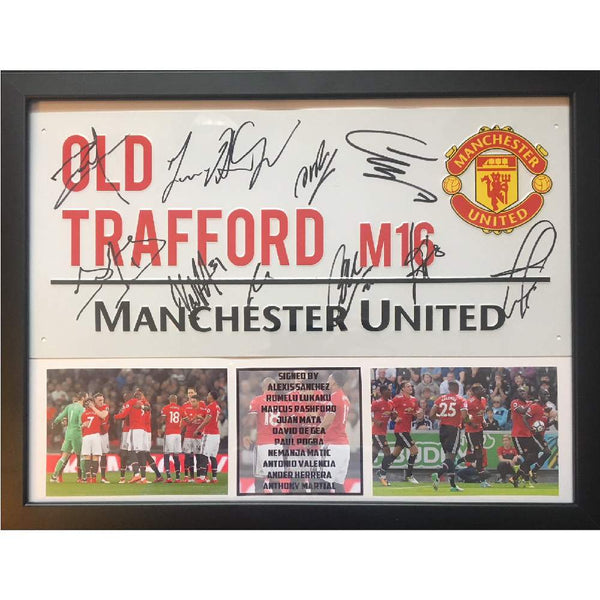 Manchester United Framed Road Sign Multi Signed