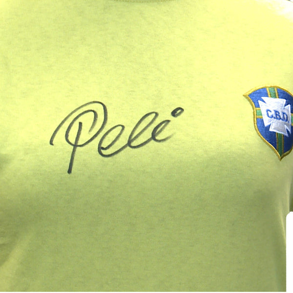 Pele Personally Signed Yellow Brazil Shirt