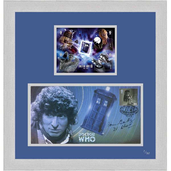 Dr Who Framed Celebration Cover& Illustrated GB Dr Who Mini-Sheetlet.Signed byTom Baker