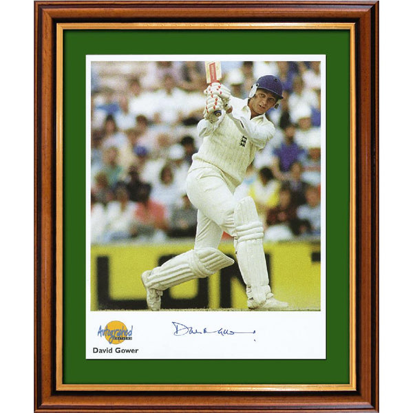 David Gower Framed Colour Photo Personally Signed