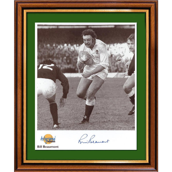 Billly Beaumont Framed Colour Photo- Only Brit.Lions Unbeaten Tour Captain. Pers. Signed