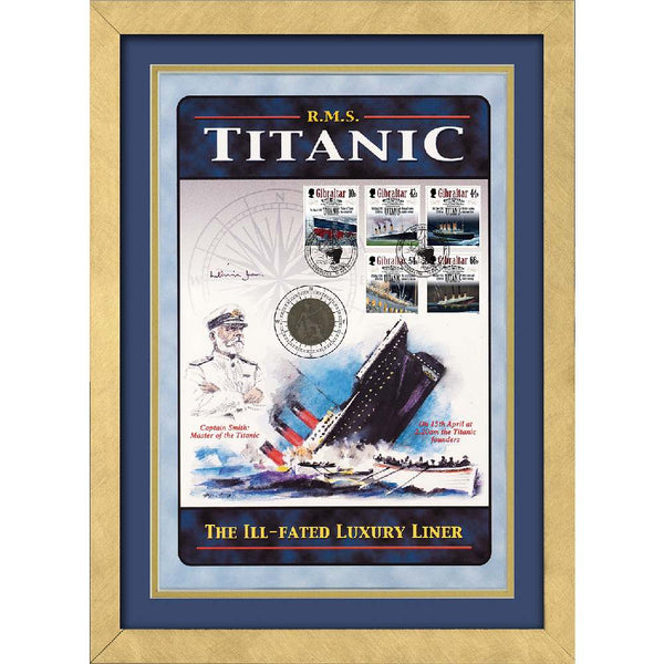 Titanic- RMS Titanic Framed Commemotative Card Personally Signed by Millvina Dean