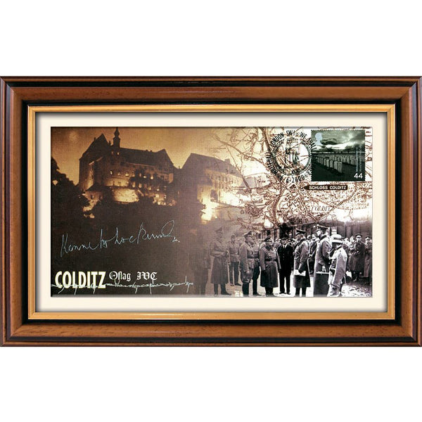 Colditz Framed Commemorative First day Cover Pers. Signed by Capt. Kenneth Lockwood