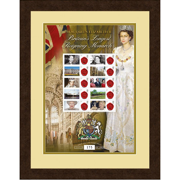 Queen Elizabeth II Framed Longest Reigning GB Monarch Stamps Sheetlet Ltd Edition