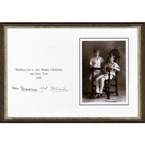 Prince Charles & Princess Diana Rare Original Personal Xmas Card Pers. Signed by Both