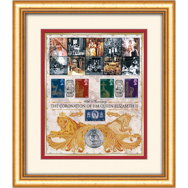 HM The Queen Elizabeth II Framed 50th Anniversary with Orig 1953 Crown & Postage Stamp