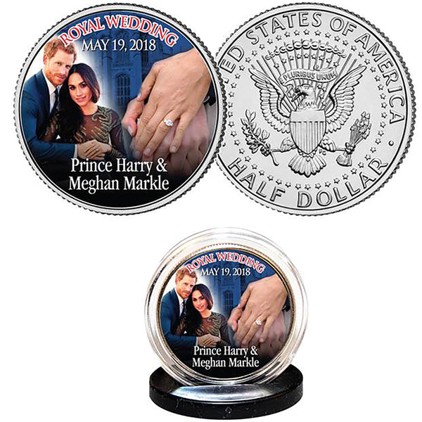 Prince Harry & Meghan Markle Colorised USA JFK Half Dollar Coin