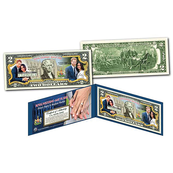 Prince Harry & Meghan Markle Collectors colorised $2 Dollar Note