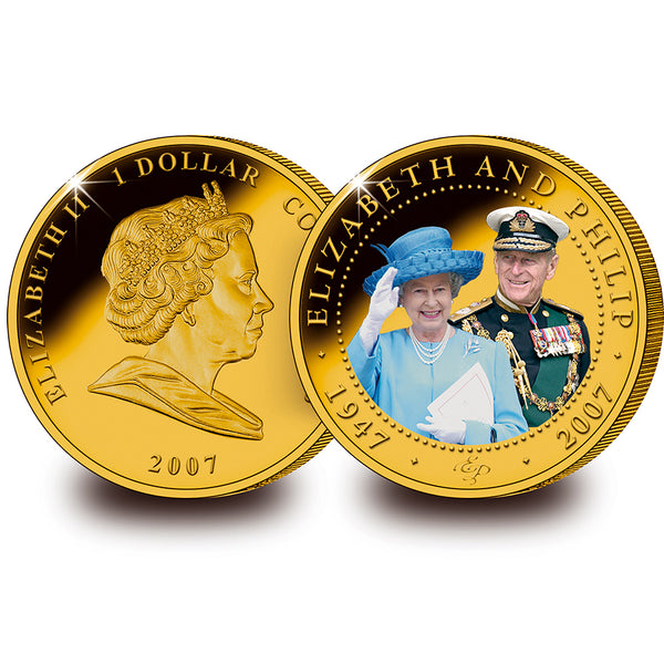 HM The Queen & Prince Philip Diamond Wedding 24ct Gold Plated Photo Coin