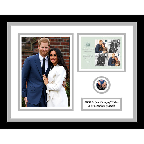 Prince Harry & Meghan Markle Royal Wedding GB Stamps Sheetlet & Collectors Coin