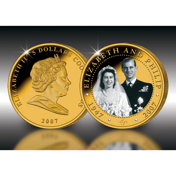 Diamond Wedding of HM The Queen & HRH Prince Philip 5 ozs 24ct Gold Collectors Coin