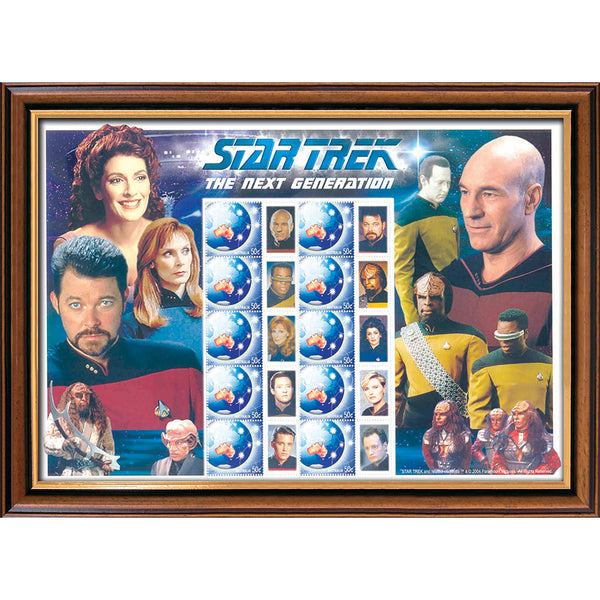Star Trek The Next Generation Framed Rare Australian Stamps Sheetlet