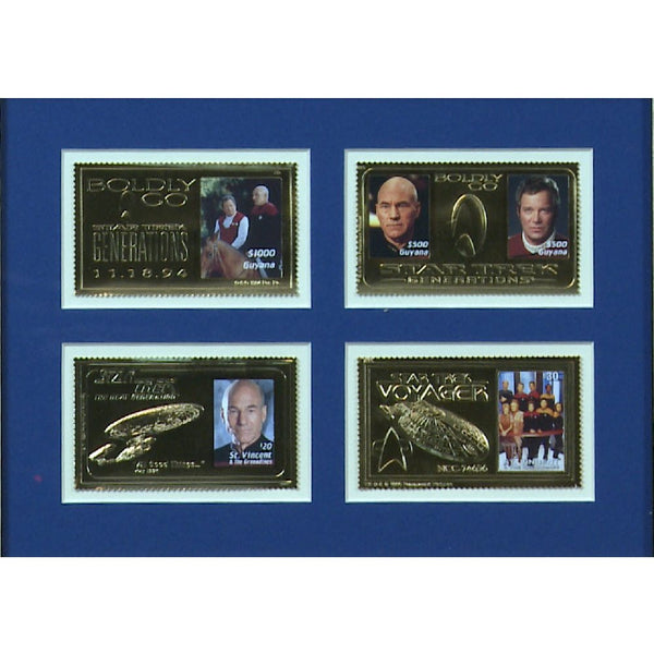 Star Trek Collectors Set of Gold Embossed Star Trek Stamps