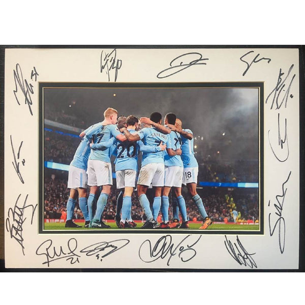 Manchester City FC Framed Team Mount Multi Signed