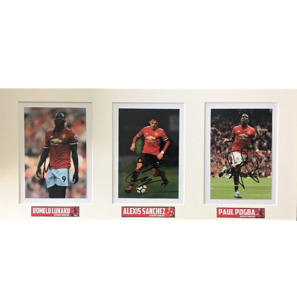 Manchester United Trio Photo - Sanchez, Pogba & Lukaku Mounted Signed by all 3 players