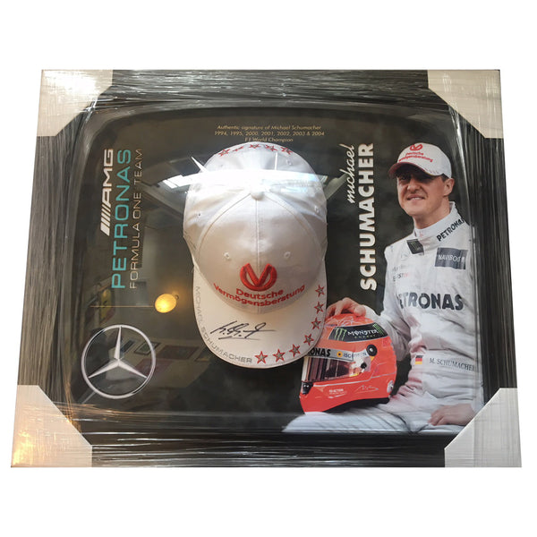 Michael Schumacher Framed & Mounted Photo & Personally Signed Hat Display