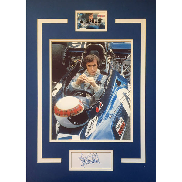 Jackie Stewart Mounted Photo Montage Display Personally Signed