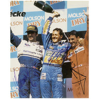 Michael Schumacher, Damon Hill & Jean Alesi Photo on Podium Signed by all 3 Drivers