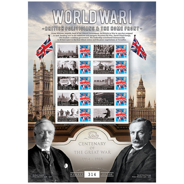 World War I The War at Sea GB Customised Stamps Sheetlet Limited Edition 500