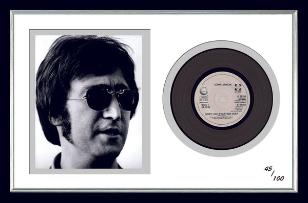John Lennon Framed Photo & Original Vinyl Single Record Display Ltd Edition