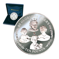HM the Queen's 80th Birthday Silver £10 Coin