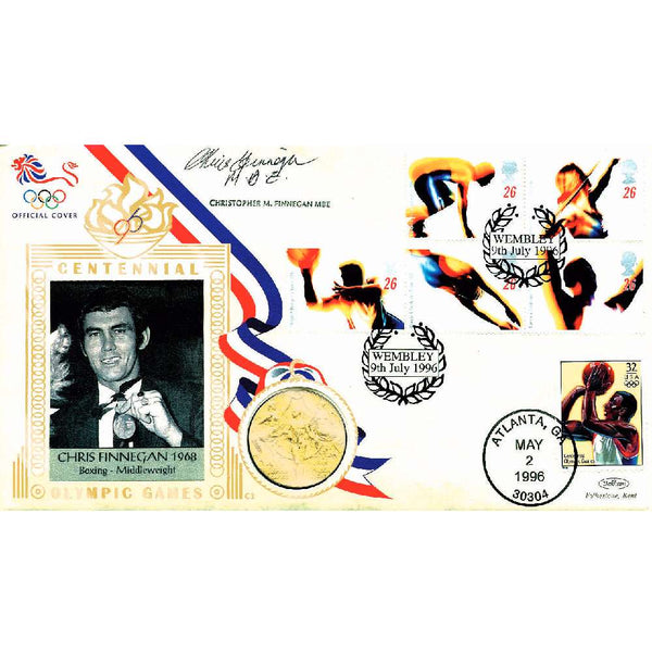 Olympic Games Commemorative Celebration Coin Cover Personally Signed by Chris Finnegan