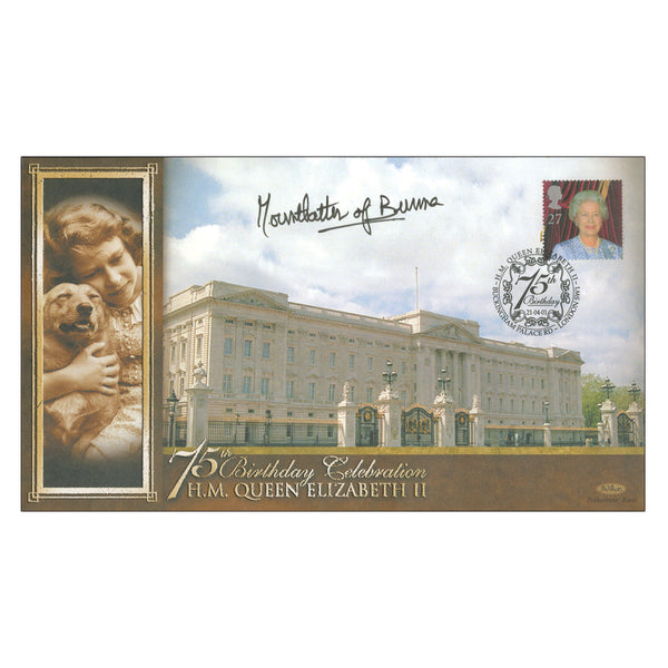 Queen Elizabeth II 75th Anniversay Cover Signed by Lady Mountbatten