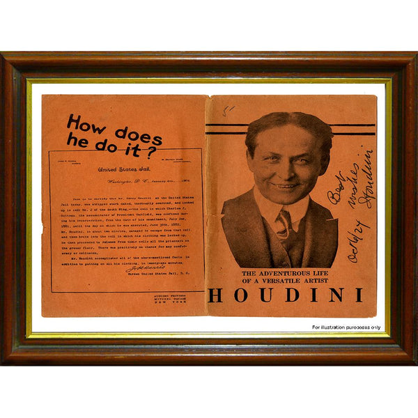 Harry Houdini Framed & Mounted Original Hand Signed Letter