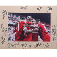 Liverpool FC Mounted Team Photo Multi Signed