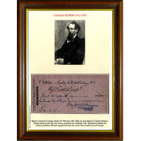 Charles Dickens Framed & Mounted Photo & Personally Signed Original Cheque