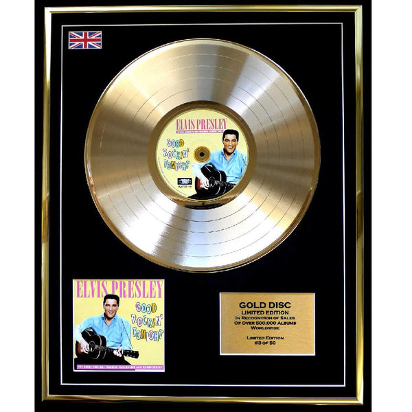 Elvis Presley ' Good Rockin Tonight' Framed & Mounted Gold Disc Ltd Edition