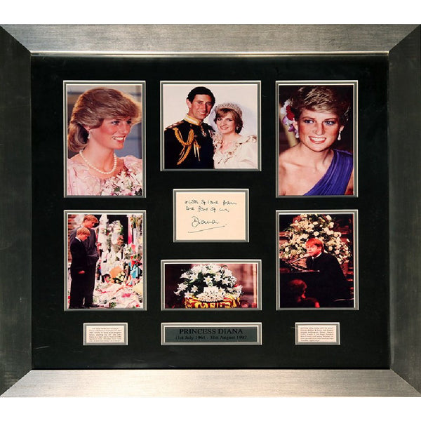Princess Diana Framed Commemorative Photo& Original Greetings Card Display Signed Diana