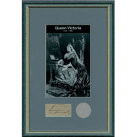 Queen Victoria Framed Presentation with Original Piece of  Personally Signed Parchment