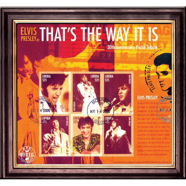 Elvis Presley- That's the Way it Is 30th Anniversary Collectors Framed Stamps Sheetlet