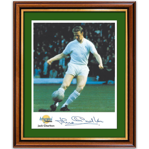 Colour photograph of Jack Charlton, signed.