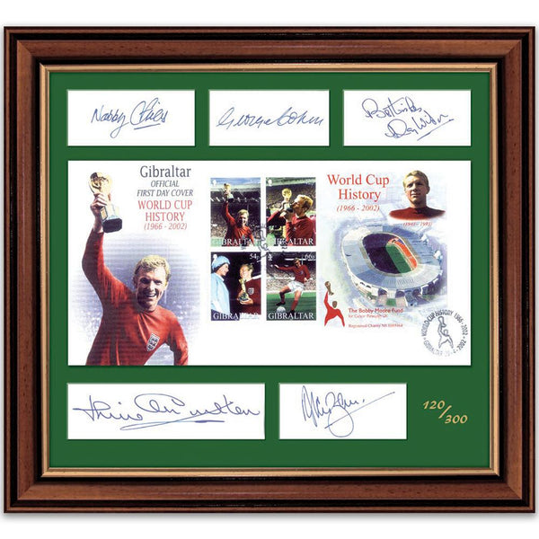 Signatures of five original world cup team members with Gibraltar first day cover, limited edition.