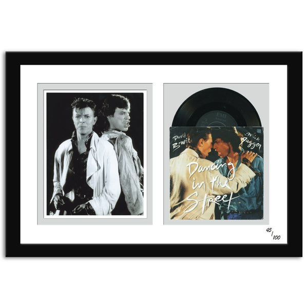 David Bowie and Mick Jagger Dancing in The Street Single  framed