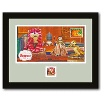 Framed 2014 Bagpuss Stamp Sheet signed by Oliver Postgate and Peter Firmin.