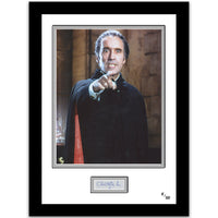 Framed colour photograph of Sir Christopher Lee in the 1958 film Dracula. Limited Edition.