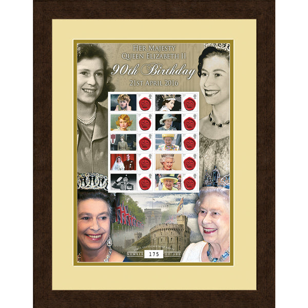 Queen Elizabeth II 90th Birthday Framed Celebration GB Stamps Sheetlet
